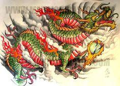 Beautiful Colorful Dragon Tattoo Design