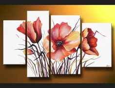 cuadros polipticos - Taringa! 3 Piece Canvas Art, Canvas Wall Art, Acrylic Art, Painting Inspiration, Flower Art, Painting & Drawing, Watercolor Art, Modern Art, Art Projects