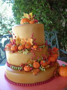 Wedding Cake Recipes fall wedding cake - this one is one of my favorites! i made this for my cousins wedding :) the pumpkins and leaves are make of gum paste and the cake it self was air brushed she loved it hope you do too :) Gorgeous Cakes, Pretty Cakes, Cute Cakes, Amazing Cakes, Pumpkin Wedding Cakes, Fall Wedding Cakes, Camo Wedding, Autumn Wedding, Wedding Ideas