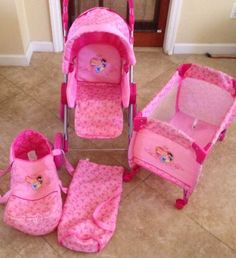 DISNEY PRINCESS Baby Doll Stroller- Carriage, Play Yard Baby Carrier