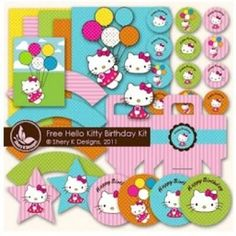 Hello Kitty Party Printables (free) Cupcake wrappers & Toppers, Invitations, Paper Bags and much more .... for you Kelly Birrell!!