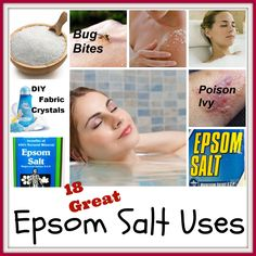 Epsom Salt Uses  - so many completely natural uses for this great inexpensive item!