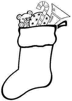 Dibujos para colorear de Calcetines y botas de navidad, Plantillas para colorear de Calcetines y botas de navidad