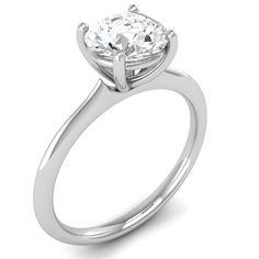 Round Cut 0.30 CT Solitaire Engagement Designer Ring Solid 10K White Gold #Vijisan #Solitaire #Engagement