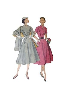 1950s Simplicity Sewing Pattern Full.  Love the buttons down the front.