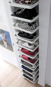 27 Cool & Clever Shoe Storage Ideas for Small Spaces is part of Closet organization designs - Do you have lots of shoes but very little space to store them You've come to the right place! Here are shoe storage solutions perfect for your tiny home! Best Shoe Rack, Diy Shoe Rack, Shoe Racks, Shoe Rack Closet, Tiny Closet, Open Closets, Shoe Rack On Wall, Shoe Storage For Small Closet, Storage For Shoes