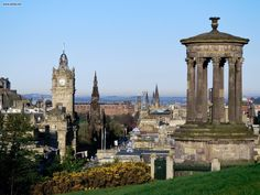 View from Calton Hill, Edinburgh, looking west along Princes Street. The Dugald Stewart Monument in the foreground.