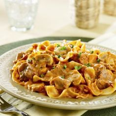 Tender beef and noodles in a tomato-inspired stroganoff sauce