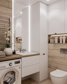 Great DIY renovations, and makeover tips including organization and storage solutions for large and small bathroom in your house. Small Bathroom, Interior Design Bathroom Small, Laundry In Bathroom, Bathroom Interior Design, Amazing Bathrooms, Home, Dream Bathrooms, Apartment Design, Bathroom Design Small