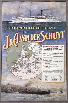 Stoombootdiensten van Eindhoven naar: Rotterdam, Dordrecht, Utrecht, Schiedam, Delft, Vlaardingen, Den Haag en Leiden  Affiche van de firma J. & A. van der Schuyt. Deze stoombootdienst verbond Eindhoven met de grote steden in het westen van het land.