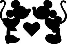 Disney Minnie Mickey Kiss SVG Design for Silhouette Studio, Cut Files, Clip A. Silhouette Minnie Mouse, Frozen Silhouette, Disney Silhouette Art, Disney Princess Silhouette, Silhouette Images, Silhouette Cameo, Silhouette Studio, Silhouettes Disney, Disney Stencils