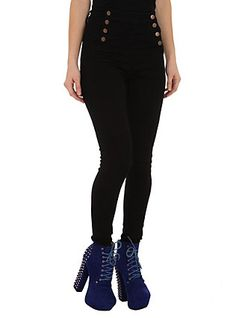Cello Black Sailor High-Waisted Skinny Jeans,