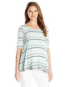 3f8512b1e368c NOM Maternity Womens Lottie and Nursing Top Mint Stripe XLarge ** Continue  to the product