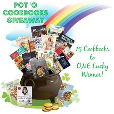 LAST DAY to get entered! Pot 'O Cookbooks Giveaway- 15 cookbooks to ONE lucky winner! Ends Party Giveaways, Leprechaun, Pop Tarts, Allrecipes, Snack Recipes, Packaging, Amazing, Awesome, Fun