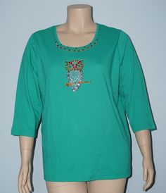 Quacker Factory NWT XL Sparkle Owl Rhinestone 3/4 Sleeve Knit Top Tee Shirt #QuackerFactory #KnitTop #Casual