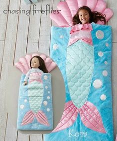 Dolls Personalized Mermaid Sleeping Bag - Exclusively Ours - Personalize This Item Dolls can dream away in this luxurious (and adorable) sleeping bag. Dressed up with sequins and satin appliqués, it has an attached shell pillow. Doll Crafts, Baby Crafts, Diy Doll, Sewing Crafts, Sewing Projects, Sewing For Kids, Baby Sewing, Kids Sleeping Bags, Mermaid Blanket
