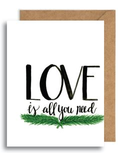 Love Is All You Need Card || wewdding || anniversary card || significant other card || spouse card || card for husband || card for wife by YourFullerLife on…
