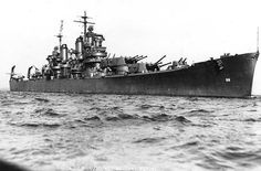Heavy cruiser USS Baltimore off Boston Navy Yard, 10 September 1943. She was the lead ship of her class of 14 heavy cruisers.