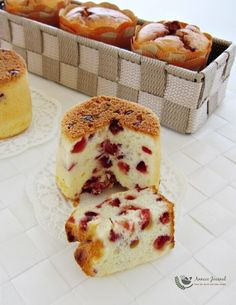 This cranberry yogurt chiffon cake so easy to make. It is moist and soft, tangy and full of lemon flavour and cranberries. Delicious Cake Recipes, Yummy Cakes, Sweet Recipes, Dessert Recipes, Yogurt Recipes, Baking Recipes, Bolo Chiffon, Yogurt Cake, Cake Board