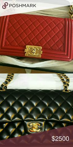 2 boy chanel bag in red and back flap lambskin GHW Price for both.Bags stored in box. Comes with box and full set of papers, serial number card,care card etc. If tou interesting email me fo more photo CHANEL Bags Crossbody Bags