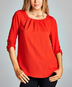 Red Pleated Scoop Neck Top