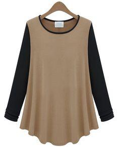 Camel Contrast Long Sleeve Ruffle Loose T-Shirt - Sheinside.com