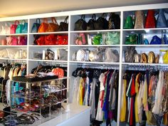 gorgeous closet with purse storage - ok this looks like a store Le Closet, Closet Vanity, Dressing Room Closet, Master Closet, Closet Space, Dressing Rooms, Master Bedroom, Creative Closets, Handbag Storage