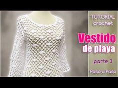 VESTIDO PARA LA PLAYA TEJIDO A CROCHET PASO A PASO CON VIDEO   Patrones Crochet, Manualidades y Reciclado