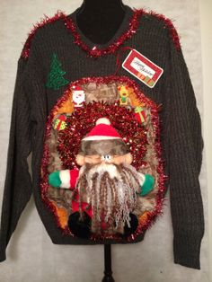 Ugly Christmas Sweater Large Duck Dynasty, Uncle Si, Hunting, Camo ...