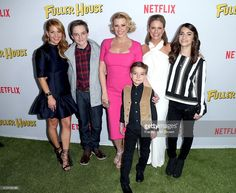 Actors Candace Cameron-Bure, Michael Campion, Jodie Sweetin, Elias Harger, Andrea Barber, and Soni Bringas attend the premiere of Netflix's 'Fuller House' at Pacific Theatres at The Grove on February 16, 2016 in Los Angeles, California.