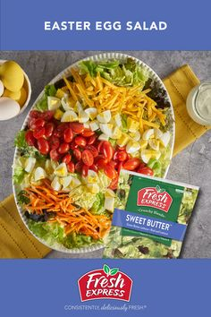 Have you tried our colorful Easter Egg salad? It is easy to make using Fresh Express® Sweet Butter® Lettuce and just a few toppings. Sweet Butter, Coloring Easter Eggs, Fruit In Season, Egg Salad, Ranch Dressing, Cherry Tomatoes, Cheddar Cheese, Lettuce, Carrots