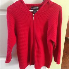 Red cotton Ellen Tracy full zip In excellent condition. Beautiful true red 80% cotton full zip hooded pullover. Ribbed and extremely soft! 3/4 sleeves. Silver hardware with designer Ellen Tracy logo. Thanks for looking. Ellen Tracy Sweaters Cardigans