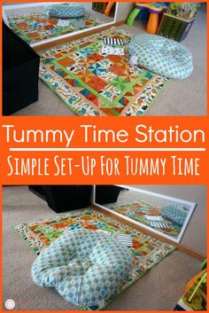 Tummy time is so important for your baby. Make a tummy time station for your newborn with these easy tips to get you started and make tummy time easy! Baby Tummy Time, Baby Time, Baby Lernen, Timmy Time, Infant Activities, 4 Month Old Baby Activities, Infant Sensory, Alphabet Activities, Sensory Activities