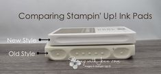 See a side by side comparison of the new style Stampin' Up! ink pad and old style. Reasons why the style has changed are listed. Ink Pads, Craft Items, Stampin Up, Paper Crafts, Colours, Change, Colour Combinations, Catalog, Projects