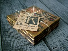 Vintage inspired, pair of decoupage coasters or decorative tiles featuring original composition by Kat Pearson Designs, made from a paper