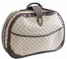 32258ed28c3d Vintage Gucci GG Logo Canvas Small Carry On Bag Suitcase Overnight Luggage  1970s Rare Travel Case Weekender