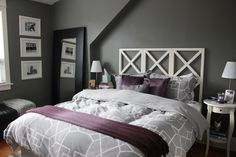 bedroom makeover gray and plum walls - Google Search