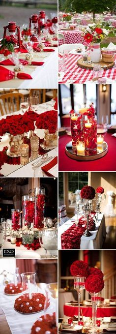 Gorgeous wedding centerpieces ideas for red and white weddings. #ChristmasWedding #ChristmasBride