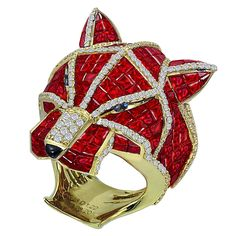 Ruby Diamond gold Panther Ring | From a unique collection of vintage fashion rings at https://www.1stdibs.com/jewelry/rings/fashion-rings/