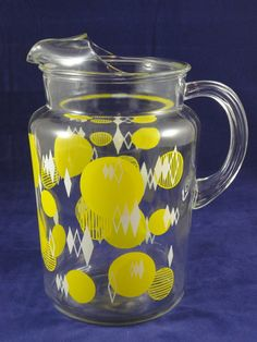 Vintage Yellow Dots 64 oz Glass Pitcher by 50sKitchen on Etsy, $17.00