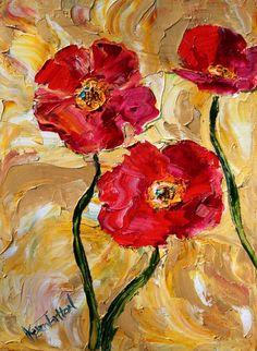 Karen Tarlton Original oil painting Red Poppy by Karensfineart