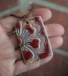 Bold Red Flower Porcelain Pendant by muddyfingers on Etsy