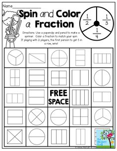 Spin and Color a FRACTION!  SO MANY fun and interactive pages to help kids master SIMPLE FRACTIONS!