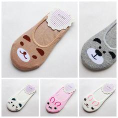Fashion Women Invisible Cotton Socks Nonslip Loafer Liner Low Cut Cartoon Animal lady Necessity Kitty/Rabbit/Bear