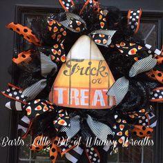 Halloween Wreath Trick or Treat Wreath by lilbitofwhimsywreath