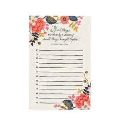 """""""Great things are done by a series of small things brought together."""" - Vincent Van GoghManage your important tasks or jot down your To-Do list with Rifle's illustrated notepad.4.25×6.575 pageswarm white text paper"""