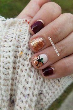 Glitter Pumpkin Nails for Fall #fallnails #pumpkin