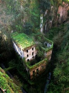 Abandoned mill from 1866. Sorrento, Italy