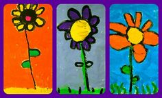 Kindergarten created simple flower images as an intro to painting class this past week.   We began with a large, simple design for a reason!  Their little puppy-paws have trouble painting small spaces and their frustration gets the best of them.        First, we drew our design directly with a brush and black paint.  The next class, we moved between colorful tempera paint stations.