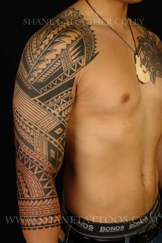 This is a samoan sleeve tattoo/ close up